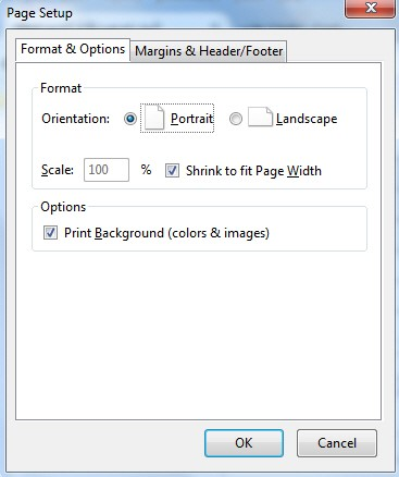 PageSetup Format & Options