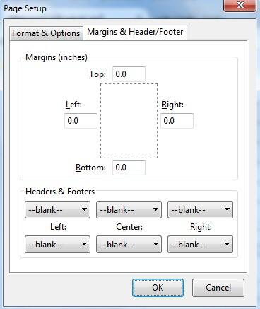 PageSetup Margins & Header/footer